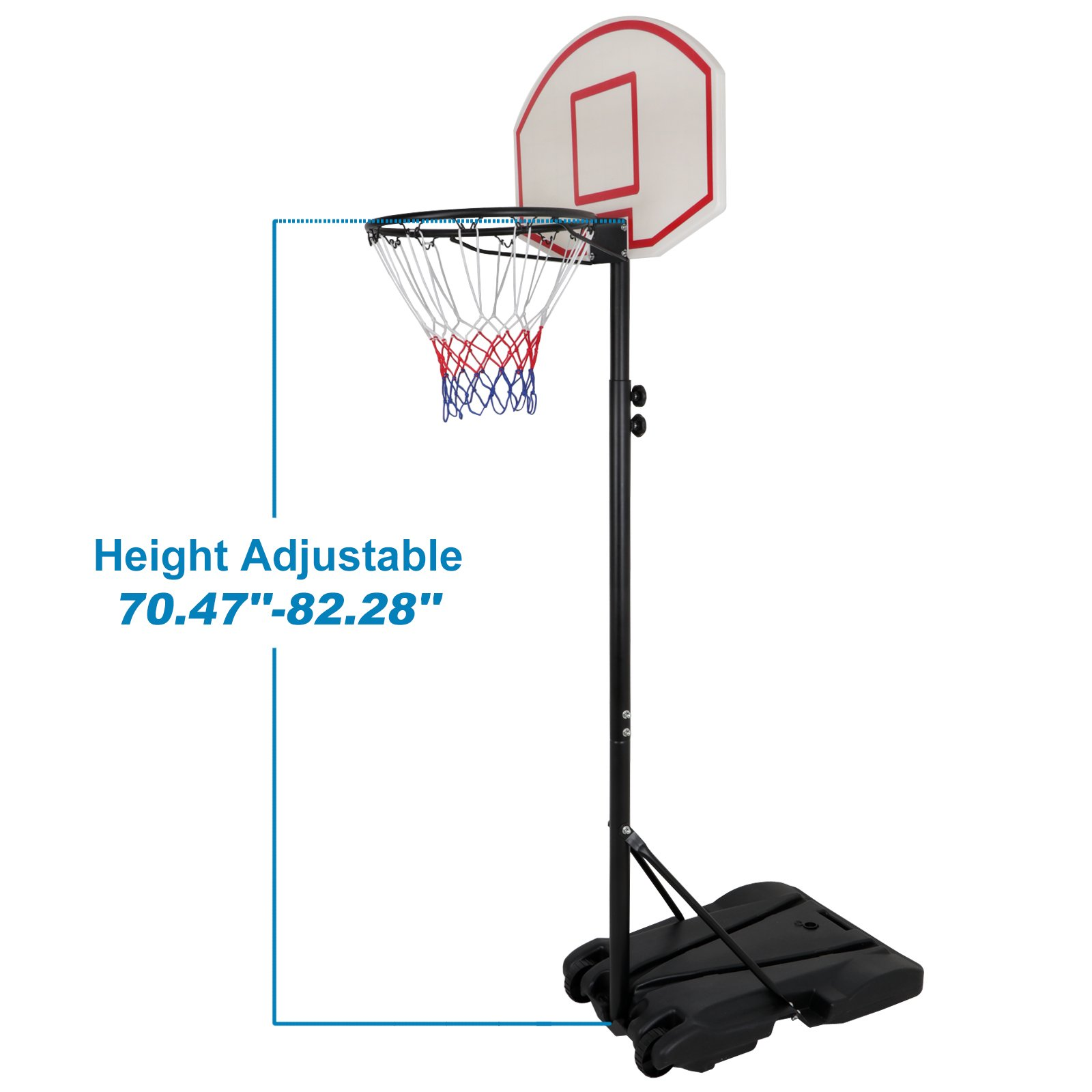 Smartxchoices Portable Height-Adjustable Basketball Hoop Stand Goal System Steel Pole with Backboard and Wheels for Kids Teenagers Youth Indoor Outdoor by Smartxchoices (Image #2)