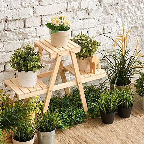 Wood Stepping Style Flower Leaves Pot 3 Shelves Stand for Indoor Outdoor Garden Greenhouse EZOWare Plant Rack