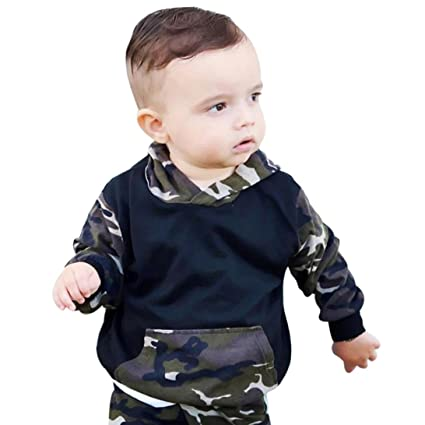 3561d6fb1 GBSELL 2pcs Newborn Infant Baby Boy Girls Clothes Camouflage Hooded T-shirt  Tops + Pants