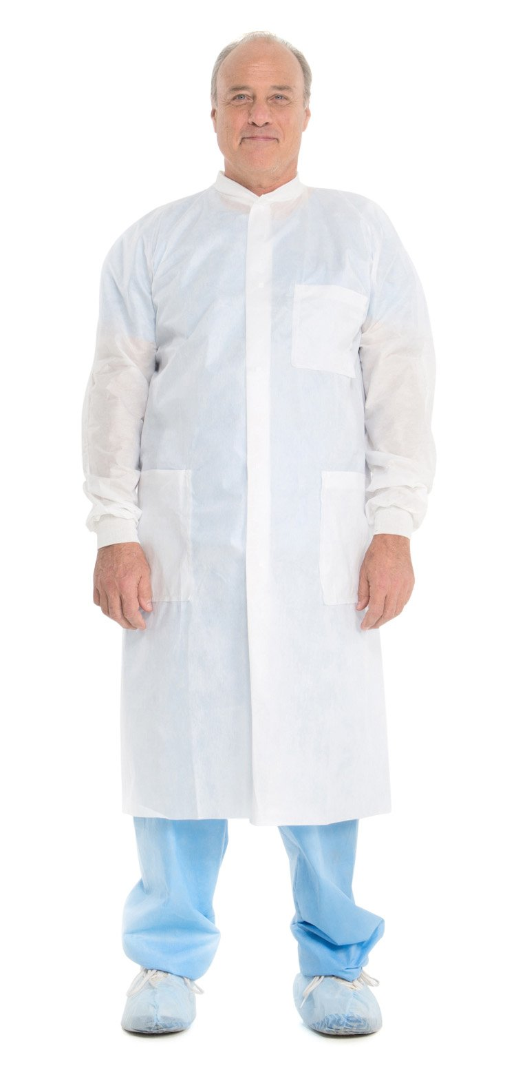 Kimberly Clark Basic Plus Lab Coats (10020), Protective 3-Layer SMS Fabric, Knit Collar & Cuffs, Unisex, White, Small, 25 / Case