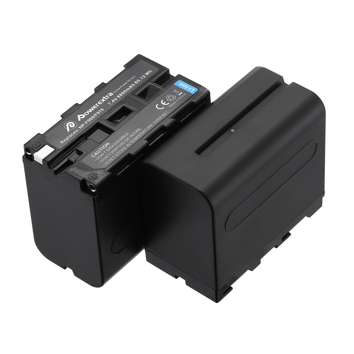 Powerextra 2 Pack Replacement Sony NP-F970 Battery 8800mAh for Sony DCR-VX2100, DSR-PD150, DSR-PD170, FDR-AX1, HDR-AX2000, HDR-FX1, HDR-FX7, HDR-FX1000, HVL-LBPB, HVR-HD1000U, HVR-V1U, HVR-Z1P