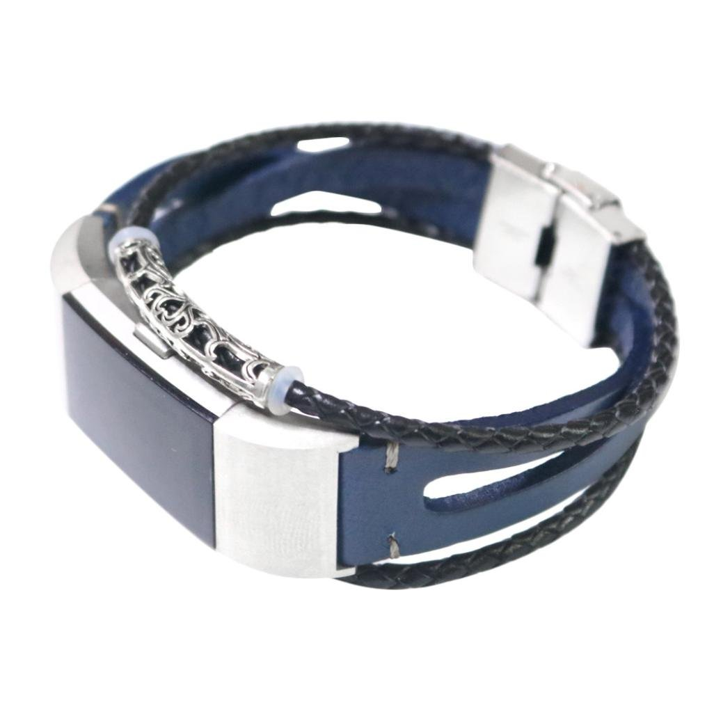 BZLine® Für Fitbit Charge 2 Armband, Charge 2 Armband Leder Ersetzerband Fitness Verstellbares Uhrenarmband für Fitbit Charge2 (Gold)