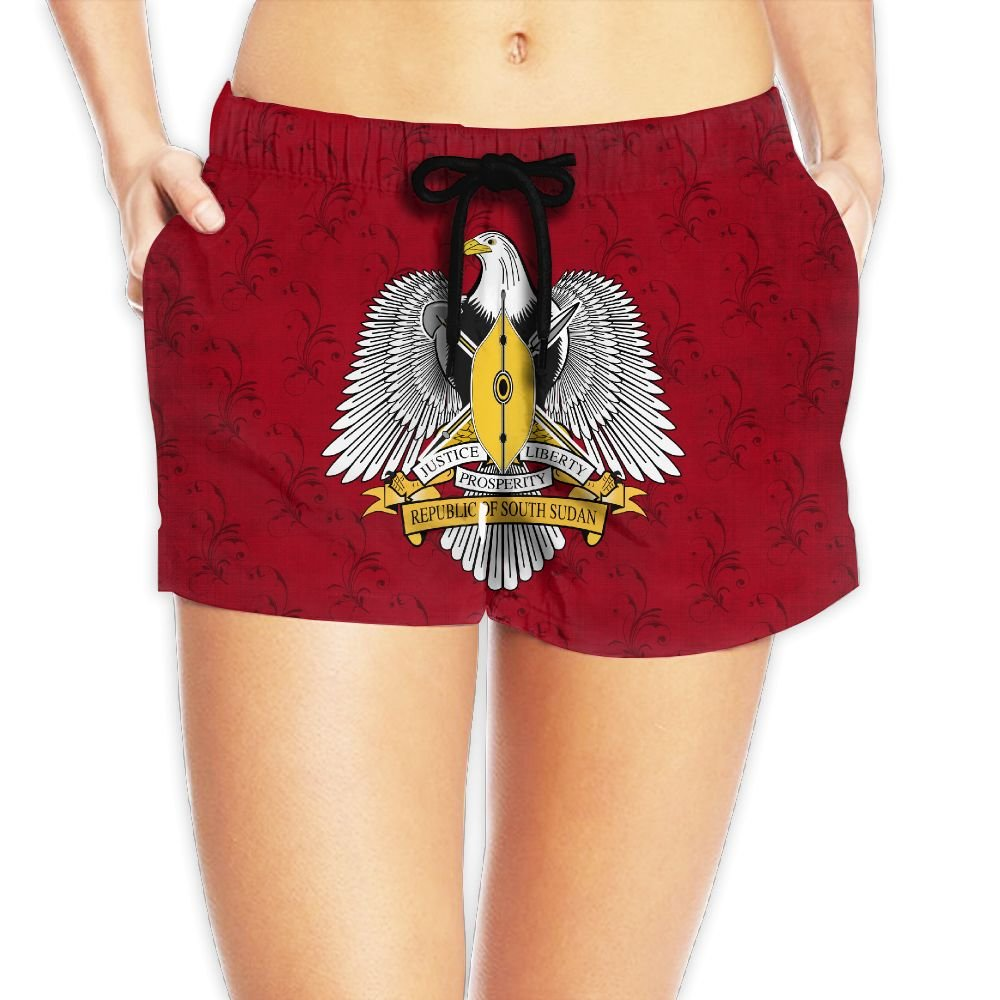 Coat of Arms of South Sudan Women Fashion Sexy Quick Dry Lightweight Hot Pants Waist Beach Shorts Swimming Trunks