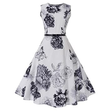 912a743b4a08d6 Damen Vintage Kleid Yesmile Hepburn Elegant 50er Jahre Retro Rock Abend  Partei Kleid Blumenmuster Rockabilly Festliche Kleid: Amazon.de:  Musikinstrumente