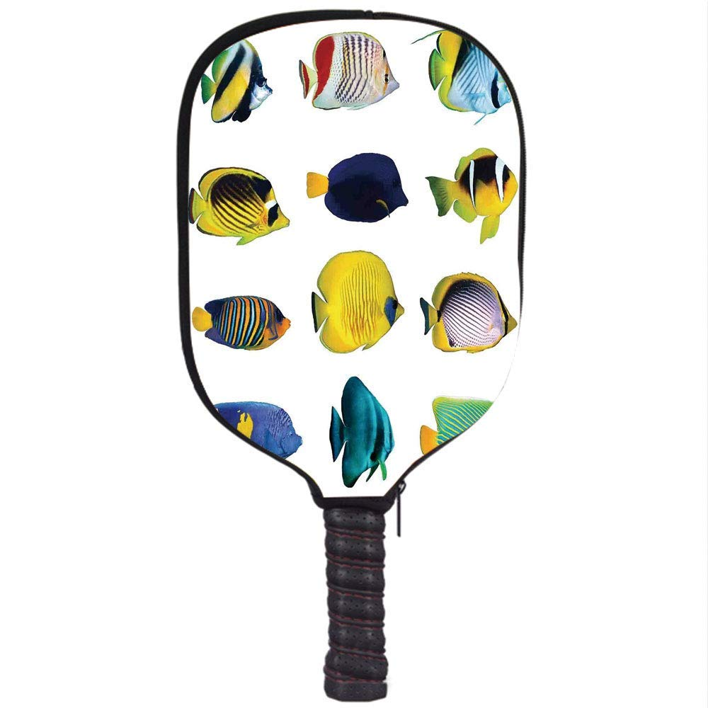 PENGTU Neoprene Premium Pickleball Paddle Racket Cover Case,Ocean Animal Decor,Tropical Fish Figures with Zebrasoma Anemonefish Dive Nemo Aqua Home Decor ...