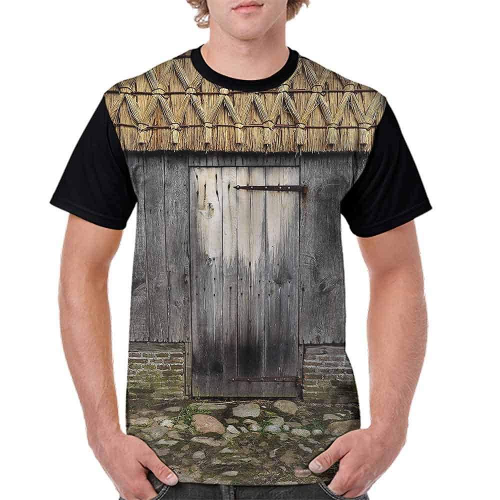 BlountDecor Cotton T-Shirt,Old and Weathered Barn Door Fashion Personality Customization