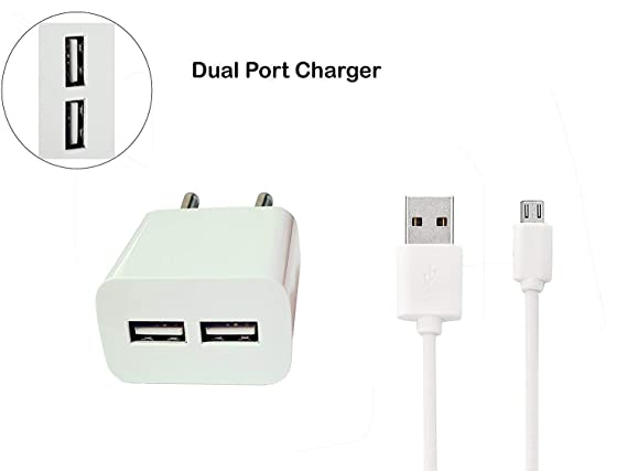 Micromax A114R Canvas Beat Supporting White 2 Port USB Mobile Charger with 2.4 Amp Power Adapter, Wall Charger, Power Charging and 2 Meter Micro USB 2