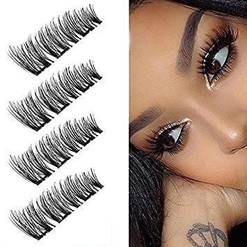78776c625ec Amazon.com : Upgraded 3 Magnetic False Eyelashes, Triple Magnets Fake Lashes  3D Reusable Eyelashes, Full Size Natural Look 2 Pairs (8 Pieces) : Beauty
