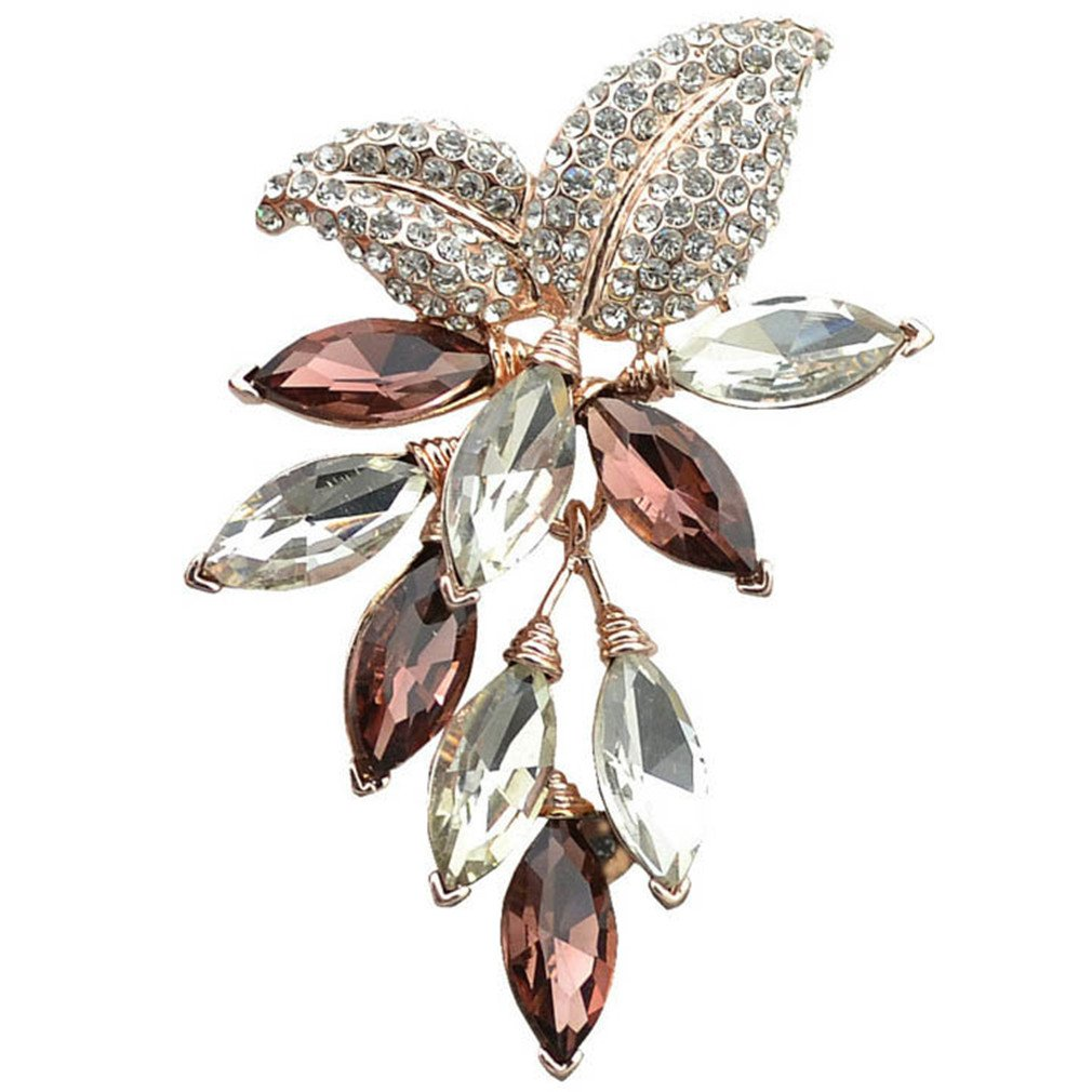 Sceneryero Big Crystal Flower Large Brooch Grape Pins And Brooches Wedding Jewelry Bijouterie Corsage Dress Coat Accessories brown