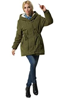 efae88190c Eozy Hiver Manteau Mi-Longue Chaud Manteau à Capuche Épais Doudoune Femme  Vert