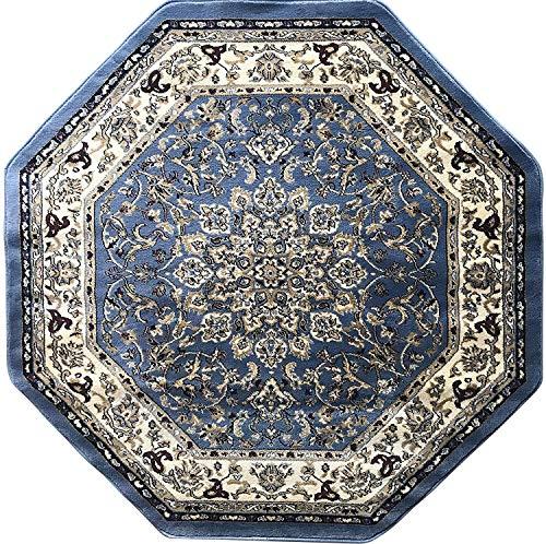 Deir Debwan Traditional Octagon Persian 330,000 Point Oriental Area Rug Light Blue Beige Burgundy Green Design 603 (5 Feet 3 Inch X 5 Feet 3 -
