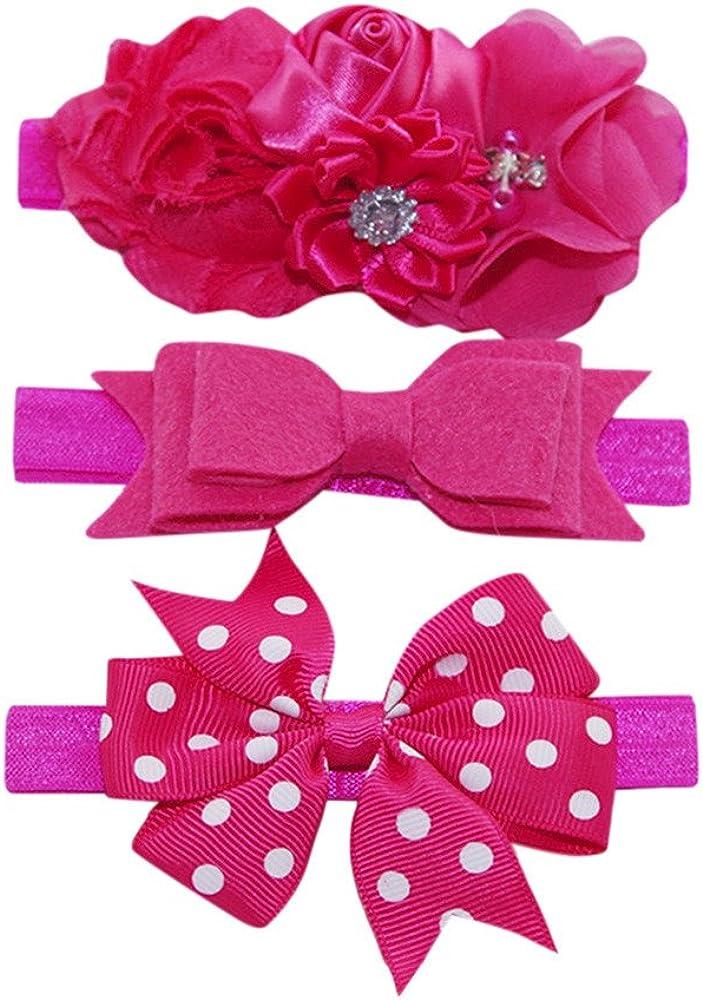 Lonshell 3Pcs Baby Girls Photography Headwear Elastic Dot Bowknot Hairband Toddler Flower Headwrap Turban Head Wraps Princess Headband Caps Kit