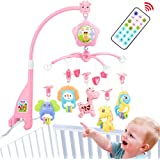Baby Crib Mobile for Pack and Play, Baby Mobile for Crib with Lights and Music,Remote with Toy, arm, Projector (Pink…