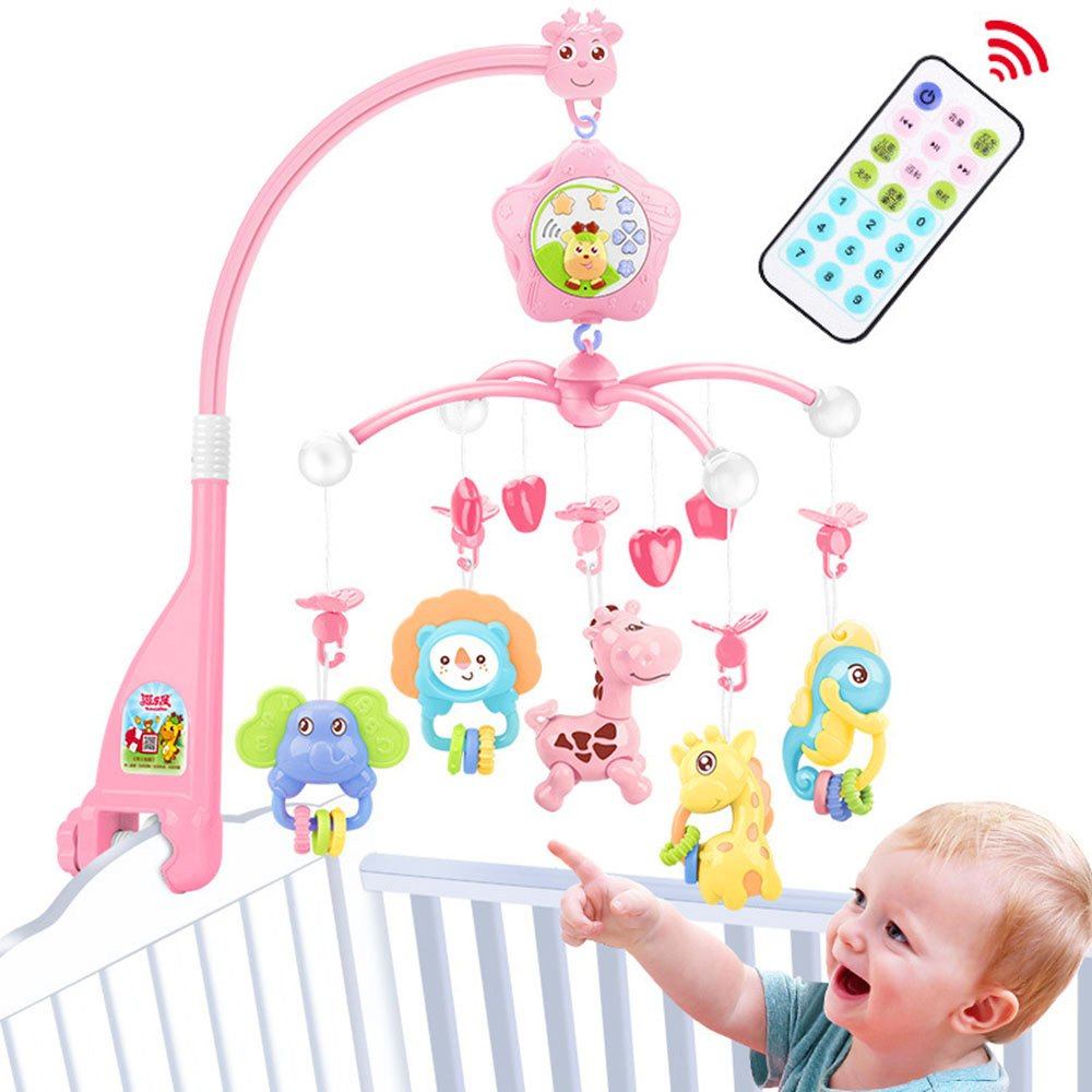 Baby mobiles for cots Girls, Crib Mobile with Lights and Music,Remote and Toy for Pack and Play (Pink) Cartebee