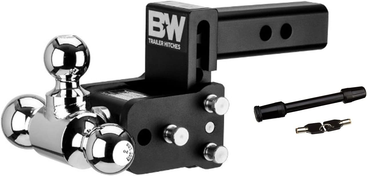 """BW Black Tow /& Stow Tri-Ball Hitch Receiver 1 7//8 2 5//16/"""" 2/"""" TS10048B Adjustable"""