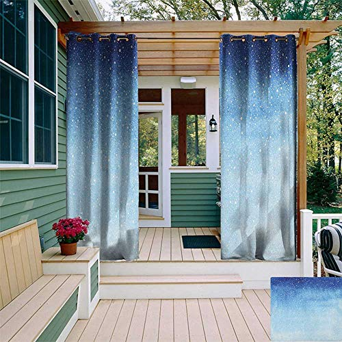 leinuoyi Winter, Outdoor Curtain Extra Wide, Falling Snow Splashes Stains Watercolors Shades of Blue Abstract Christmas Inspired, Outdoor Patio Curtains W120 x L96 Inch Blue White