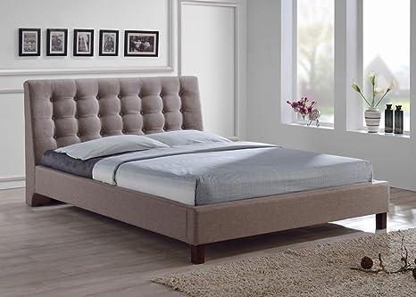 promo code 2127f 247a1 Baxton Studio Zeller Brown Linen Modern Upholstered Headboard Bed, Full