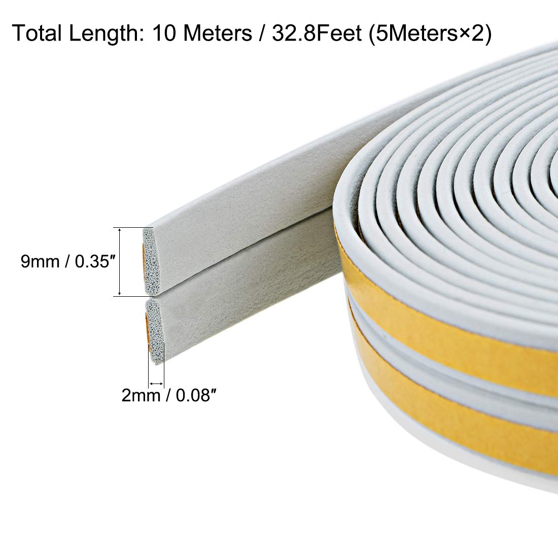 Total 32.8 Feet Long Black 2Pcs uxcell Foam Tape Adhesive Weather Stripping 9mm Wide 2mm Thick