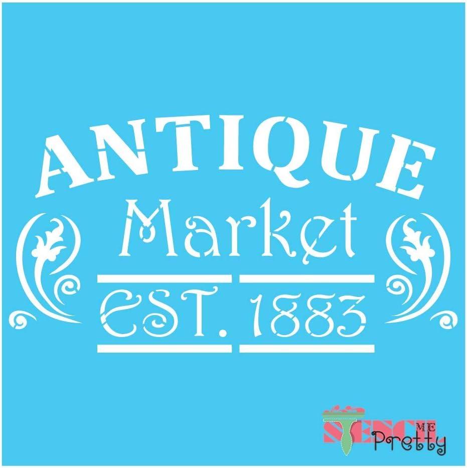 Antique Market Vintage Stencil Best Vinyl Large Stencils for Painting on Wood, Canvas, Wall, etc.-XS (9.5