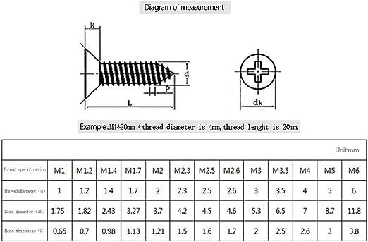 100pcs Argent Environ 100Pcs Frais/ée Acier Inoxydable Vis Autoperceuse KINDOYO M2//M2.3//M2.6//M3 Vis Autotaraudeuses M3*16mm