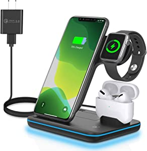 Wireless Charger, AnyLincon 3 in 1 Qi-Certified 15W Fast Charging Station for Apple iWatch Series 5/4/3/2/1,AirPods, Compatible with iPhone 11 Series/XS MAX/XR/XS/X/8/8 Plus/Samsung