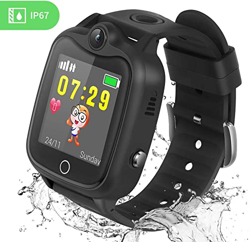 Kids Smart Watch, Smartwatch for Kids with LBS Tracker Voice Chat Camera SOS Alarm Clock Games, Kids Waterproof Smart Watch, Touch Screen Kids Phone Watch for Christmas Birthday Gifts Black