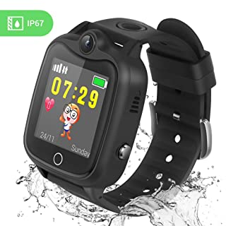 Kids Smart Watch, Smartwatch for Kids with LBS Tracker Voice Chat Camera SOS Alarm Clock Games, Kids Waterproof Smart Watch, Touch Screen Kids Phone Watch for Christmas Birthday Gifts (Black)