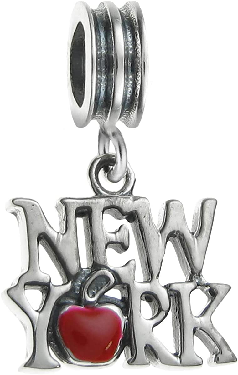 Dreambell 925 Sterling Silver New York City The Big Apple Enamel European Dangle Charm
