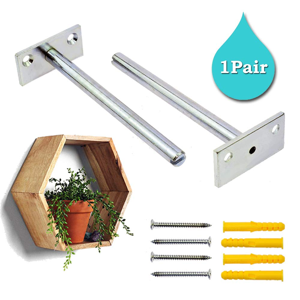 Stritra - Floating Shelf Brackets Concealed Mount Invisible Blind Shelf Supports Hidden Brackets for Home Wall DIY Wood Shelves Hardware Included (1 Pair)
