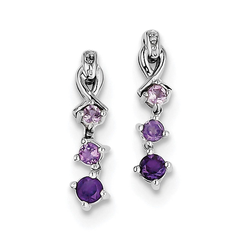 925 Sterling Silver Rhodium-plated Pink Quartz Amethyst /& Diamond Dangle Post Earrings