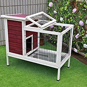 "Petsfit 36""Lx20""Wx30""H Rabbit Hutch Red,Guinea Pigs Cage,Bunny Hutch Wood for Indoor Use"