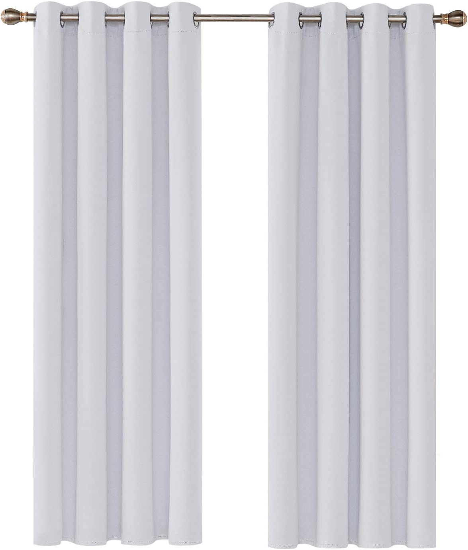 Deconovo Cortinas Salon Opacas Térmicas Aislantes y Ruido Reducción con Ojales 2 Paneles 135 x 240 cm Gris Blanco