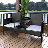 Chloe Rossetti PE Rattan + Powder Coated Steel Frame Garden Sofa Set with Sun Loungers,Poly Rattan Blue Dining Sofa Chairs With Pillow