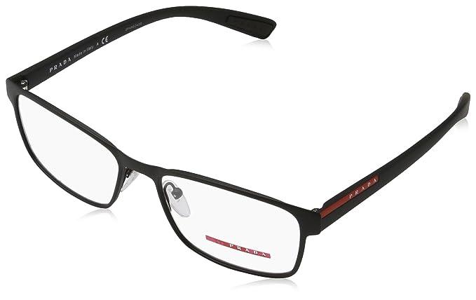 b1a87e706e14 Image Unavailable. Image not available for. Colour  New Prada PR PS 50GV DG0-1O1  Black Rubber Frame Rectangular Eyeglasses 55