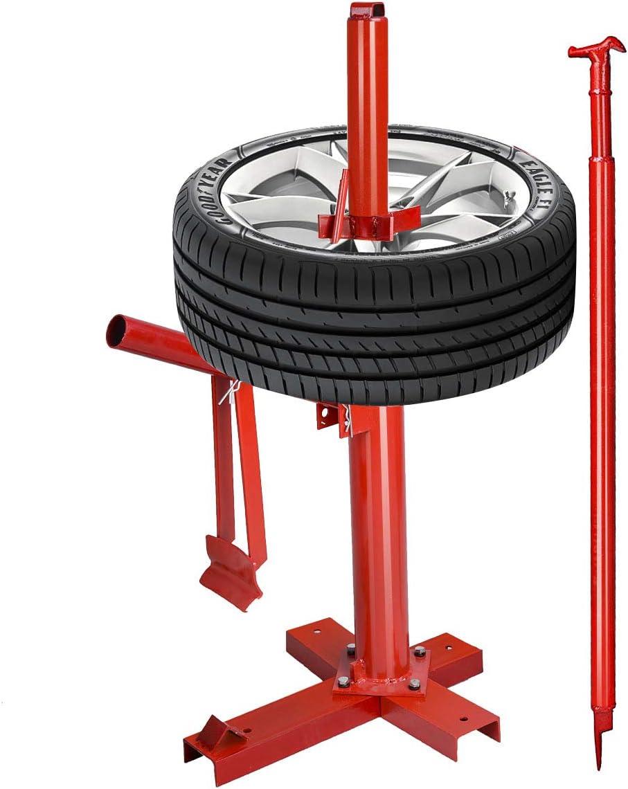 Rot Reifenmontierger/ät mit Felgendorn Reifenmontageger/ät GOPLUS Manuelle Reifenmontiermaschine Kompatibel mit Reifen von 8/″ bis 16/″ Reifenmontagehilfe Reifenwechsler aus Stahl
