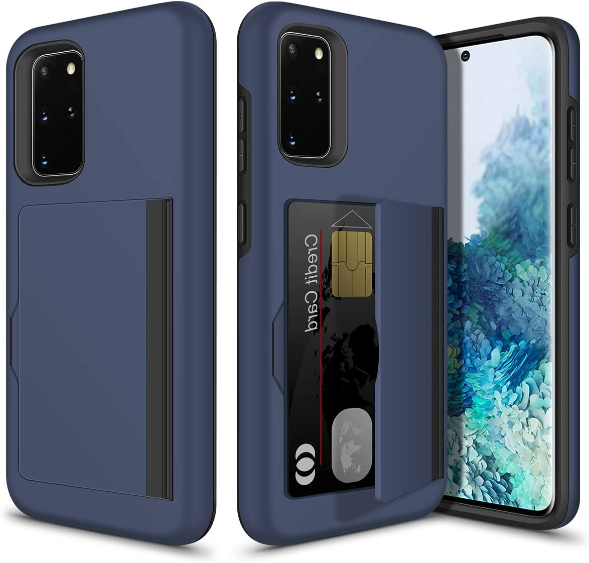 Vofolen for Galaxy S20 Plus Case S20+ Wallet Cover Credit Card Holder Slot Hidden Flip Pocket Hybrid Dual Layer Protective Hard Shell Rugged Rubber Bumper Armor Case for Samsung Galaxy S20+ 6.7 Navy