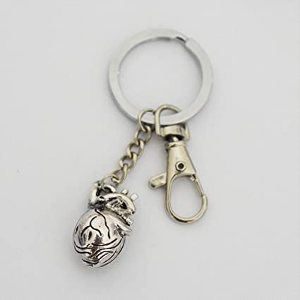 Amazon.com: Anatomical Heart Keychain Antique Silver ...