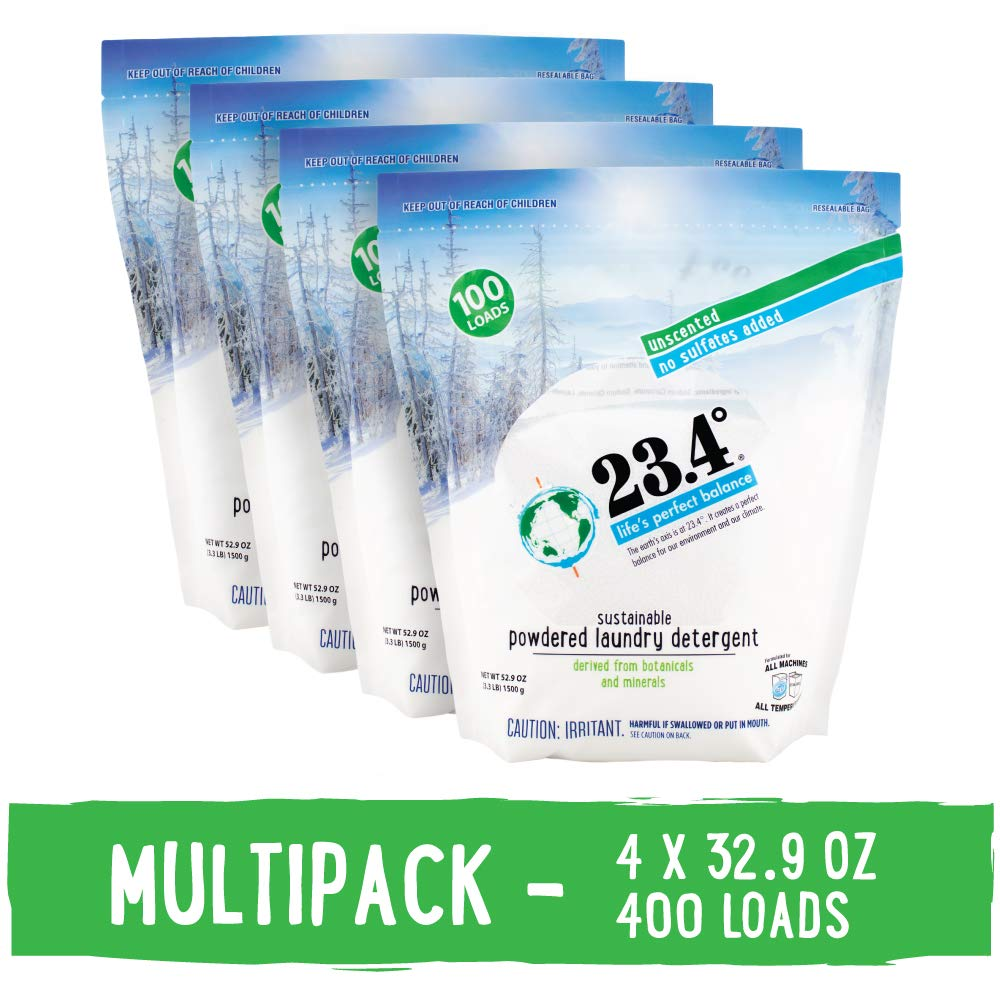 23.4° Life's perfect balance Powdered Laundry Detergent Unscented Stand Up Bag, 4 Units, 13.2 Lb