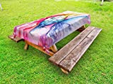 Ambesonne Fish Outdoor Tablecloth, Watercolor Fish Paint with Grunge Vivid Brushstrokes and Splashes Nautical Concept, Decorative Washable Picnic Table Cloth, 58 X 104 Inches, Multicolor
