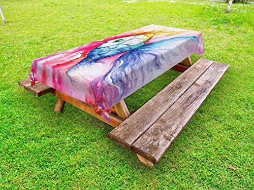 Ambesonne Fish Outdoor Tablecloth, Watercolor Fish Paint with Grunge Vivid Brushstrokes and Splashes Nautical Concept, Decorative Washable Picnic Table Cloth, 58 X 104 Inches, Multicolor by Ambesonne