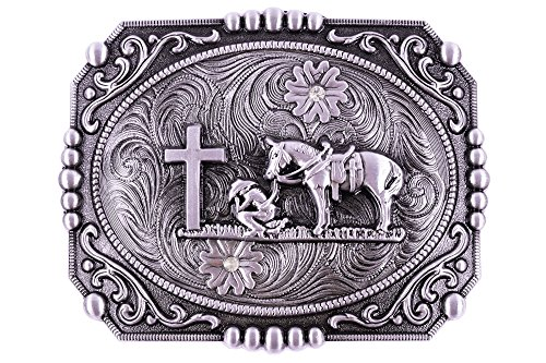 Religion Cross Cowboy And Horse Design Belt Buckles (Custom Pewter Belt Buckles)