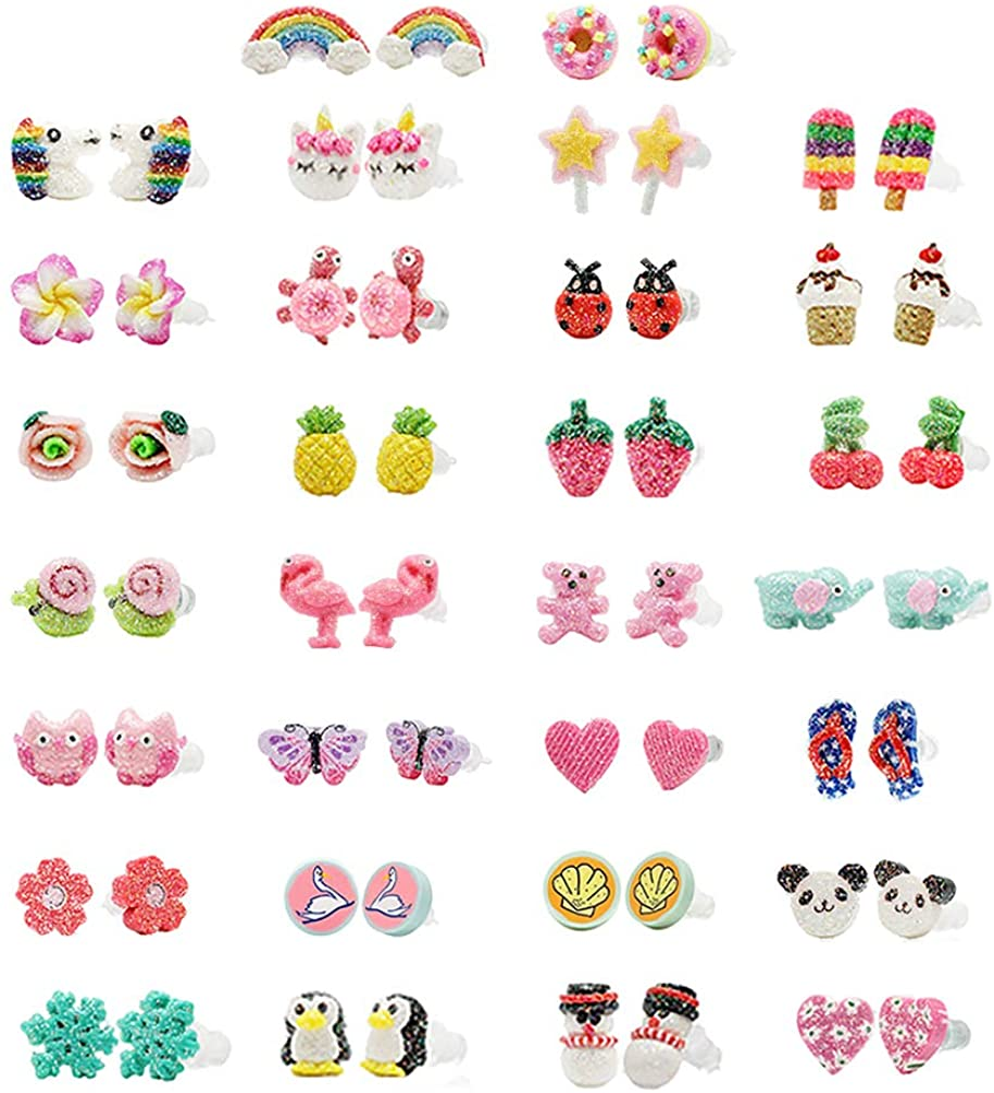 Minihope - Pendientes de plástico hipoalergénicos para niñas, diseño de donut, unicornio, múltiples animales, hechos con arcilla polimérica, el mejor regalo para las niñas para Navidad.