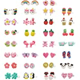 Minihope Hypoallergenic Plastic Post Earrings for Girls, Cute Multiple Animal Unicorn Donut Stud Earrings for Little Girls Ki