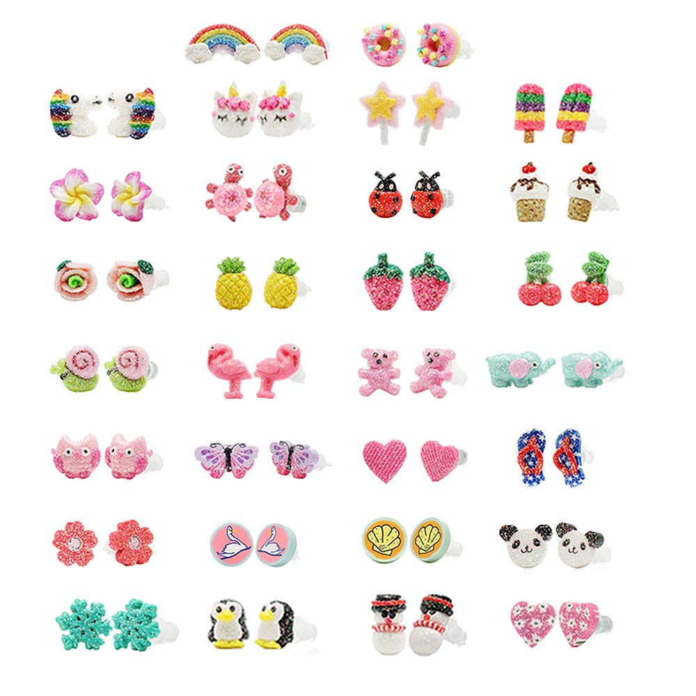 minihope Hypoallergenic Plastic Post Earrings for Girls, Cute Multiple Animal Unicorn Donut Stud Earrings for Little Girls Kids, Made with Polymer Clay,Hand Made Jewelry (30 Pairs) by minihope