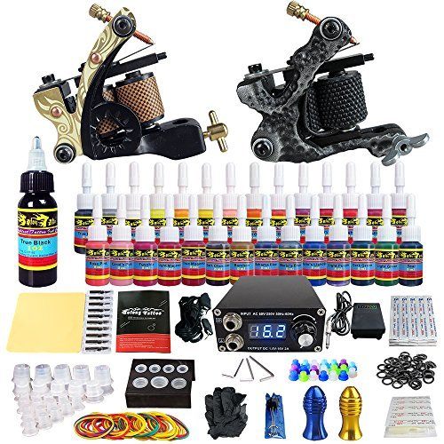 Solong Tattoo Complete Tattoo Kit 2 Pro Machine Guns 28 Inks Power Supply Foot Pedal Needles Grips Tips TK222