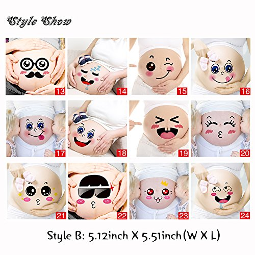 Baby Stickers 12 Sheets Facial Expressions in 1 Set Pregnancy Belly Stickers Maternity Lovely