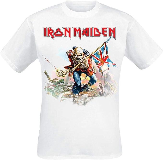 Iron Maiden Trooper On White Camiseta Blanco XL: Amazon.es: Ropa y accesorios