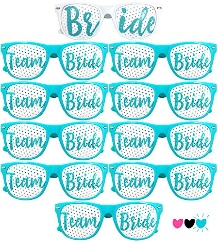 Team Bride Party Glasses - Novelty Sunglasses For Weddings, Bachelorette Parties and Bridal Showers (10pc Set, Robin Egg (Bachelorette Glasses)