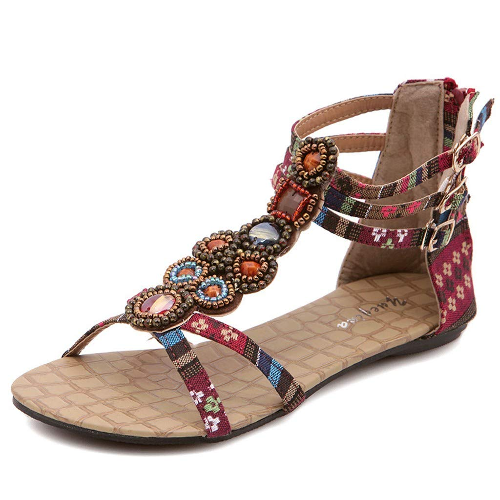 Nadition Summer Bohemia Sandals ❤️️ Women Rhinestone Gladiator Sandals Weaving Ethnic Style Flat Summer Beach Shoes Wine