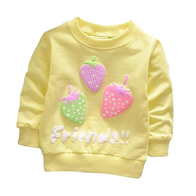 Yannerr Bebé niña niño Manga Larga Camiseta Tops Recién Nacido Primavera Dibujos Fresa Estampado Blusa suéter